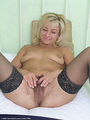 Mature blondes in black nylons